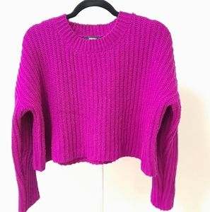 Forever 21 fuchsia knitted crop sweater
